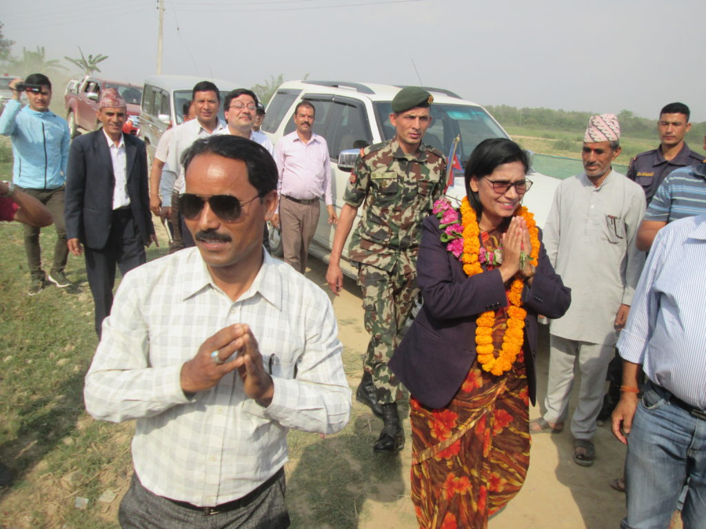 Hon_ble Ministry of Land Management, Cooperatives _ Proverty Alleviation Minister Padma Aryal observed at Haliya rehabilitation progarm at Kanchanpur. Photo taken by- Hari Singh Bohara